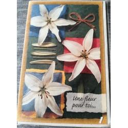 Carte postale double avec enveloppe fête félicitations diverses neuve
