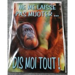 Carte postale double avec enveloppe fête diverses singe tête pivotante neuve