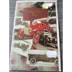 Carte postale double avec enveloppe fête des pères bonne fête papa collection voiture neuve