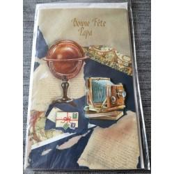 Carte postale double avec enveloppe fête des pères bonne fête papa collection objets anciens neuve