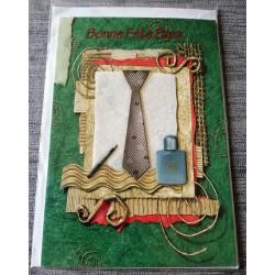 Carte postale double avec enveloppe fête des pères bonne fête papa cravate vert neuve