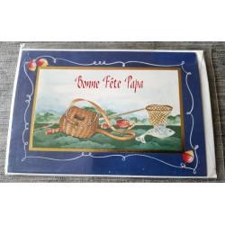 Carte postale double avec enveloppe fête des pères bonne fête papa pêcheur neuve