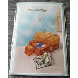 Carte postale double avec enveloppe fête des pères bonne fête papa évasion neuve