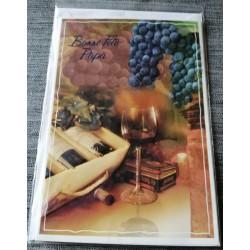 Carte postale double avec enveloppe fête des pères bonne fête papa vignoble neuve