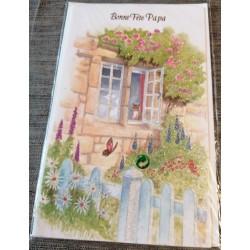 Carte postale double avec enveloppe fête des pères bonne fête papa maison fleuris neuve