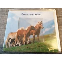Carte postale double avec enveloppe fête des pères bonne fête papa chevaux neuve