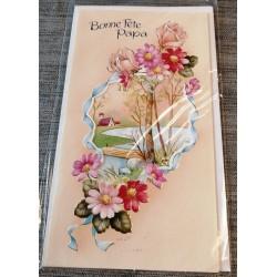 Carte postale double avec enveloppe fête des pères bonne fête papa découpé florale neuve