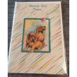 Carte postale double avec enveloppe fête des pères bonne fête papa chiots neuve