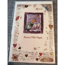 Carte postale double avec enveloppe fête des pères bonne fête papa cœurs neuve