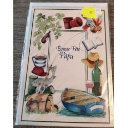 Carte postale double avec enveloppe fête des pères bonne fête papa pêche jardin neuve