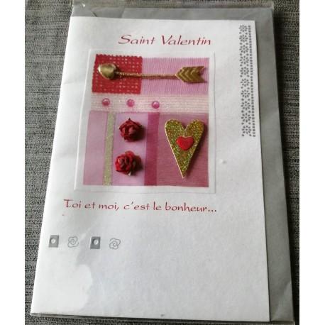 Carte postale double avec enveloppe fêtes saint Valentin poème toi et moi neuve