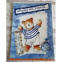 Cartes postale sans enveloppe ourson bleu attend moi,j'arrive enfant fête anniversaire neuve