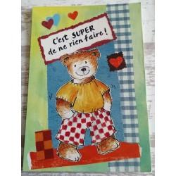 Cartes postale sans enveloppe ourson vert c'est super de ne rien faire enfant fête anniversaire neuve