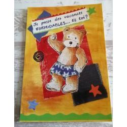 Cartes postale sans enveloppe ourson je passe des vacances formidables...et toi? enfant fête anniversaire neuve