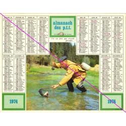 Calendrier de naissance plastifié année 1974 v02 pêcheur Idée cadeau original anniversaire fête noël neuf