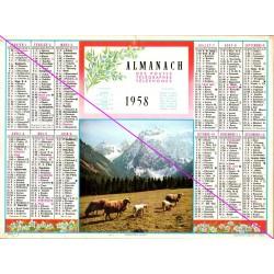 Calendrier de naissance plastifié année 1958 v03 Idée cadeau original anniversaire fête noël neuf