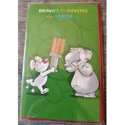 Carte postale double avec enveloppe bravo félicitation humour trombone neuve