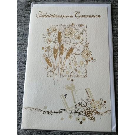 Carte postale double avec enveloppe félicitation communion écriture et dessin or neuve