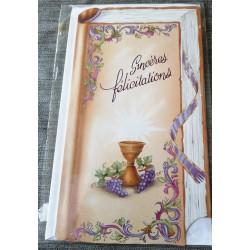 Carte postale double avec enveloppe félicitation communion ruban floral neuve