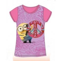 T Shirt Manches courtes Minions rose du 4 au 10 ans licence officielle vêtement fille NEUF