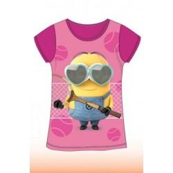T Shirt Manches courtes Minions fuchsia du 4 au 10 ans licence officielle vêtement fille NEUF