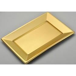 LOT DE 5 plateaux rectangle plastique Or 33 x 23 cm FÊTE ANNIVERSAIRE MARIAGE NOËL NEUF