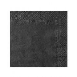 LOT DE 50 Serviettes en papier noires 38 x 38 cm FÊTE ANNIVERSAIRE RETRAITE MARIAGE NOEL NEUF