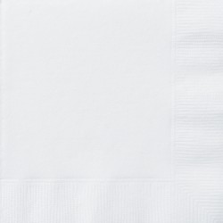 LOT DE 50 Serviettes en papier blanches 38 x 38 cm FÊTE ANNIVERSAIRE RETRAITE MARIAGE NOEL NEUF