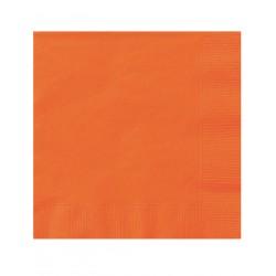 LOT DE 20 Petites serviettes cocktail en papier oranges 25 x 25 cm FÊTE ANNIVERSAIRE RETRAITE MARIAGE NOEL NEUF