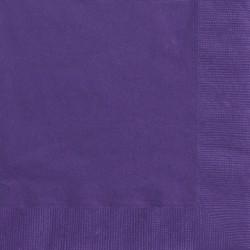 Lot de 50 Serviettes en papier violettes 33 x 33 cm anniversaire mariage baptême retraite neuve