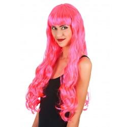 Perruque longue rose fluo ondulée femme déguisement adulte anniversaire mariage retraite humour neuve