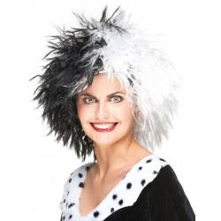 Perruque courte cruella noir/blanche femme déguisement adulte anniversaire mariage retraite humour neuve