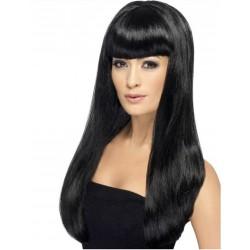 Perruque longue noire frange femme déguisement adulte anniversaire mariage retraite humour neuve