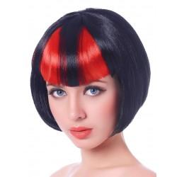 Perruque courte mêchée noir et rouge diablesse femme adulte anniversaire mariage retraite humour neuve