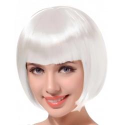 Perruque courte frange blanche femme adulte anniversaire mariage retraite humour neuve