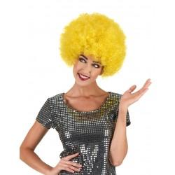 Perruque afro disco jaune confort mixte adulte anniversaire mariage retraite enterrement vie célibataire neuve