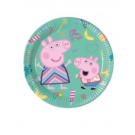 Lot de 8 Assiettes en carton Peppa Pig licence officielle 20 cm enfant gouter d'anniversaire fête neuve