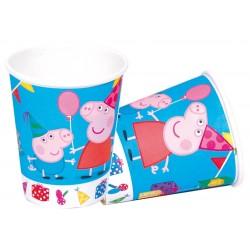 Lot de 8 Gobelets verres en carton Peppa Pig 220 ml licence officielle enfant gouter d'anniversaire fête neuve