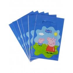 Lot de 6 Sacs cadeaux en plastique Peppa Pig 22.5 x 15 cm licence officielle enfant gouter d'anniversaire fête neuve