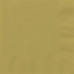 Lot de 50 Serviettes en papier dorées 33 x 33 cm anniversaire mariage baptême retraite neuve