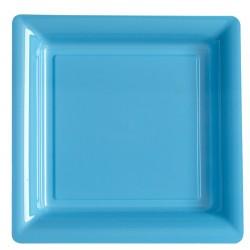 Lot de 12 grandes Assiettes plastique jetable carrées bleu 23.5x23.5 cm fête diverses neuve