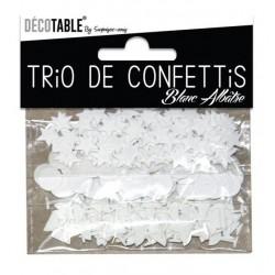TRIO CONFETTIS COULEUR BLANC ALBATRE DÉCORATION DE TABLE FÊTE ANNIVERSAIRE MARIAGE BAPTEME RETRAITE NEUF