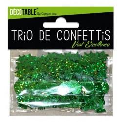 TRIO CONFETTIS COULEUR VERT EXCELLENCE DÉCORATION DE TABLE FÊTE ANNIVERSAIRE MARIAGE BAPTEME RETRAITE NEUF