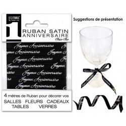 RUBAN SATIN JOYEUX ANNIVERSAIRE 4M NOIR PUR FÊTE DÉCORATION DE TABLE OU SALLE NEUF