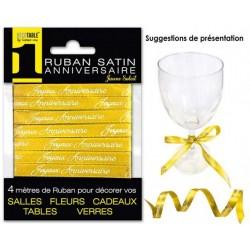 RUBAN SATIN JOYEUX ANNIVERSAIRE 4M JAUNE SOLEIL FÊTE DÉCORATION DE TABLE OU SALLE NEUF