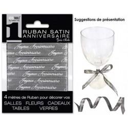 RUBAN SATIN JOYEUX ANNIVERSAIRE 4M GRIS PERLE FÊTE DÉCORATION DE TABLE OU SALLE NEUF