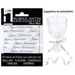 RUBAN SATIN JOYEUX ANNIVERSAIRE 4M BLANC ALBÂTRE FÊTE DÉCORATION DE TABLE OU SALLE NEUF