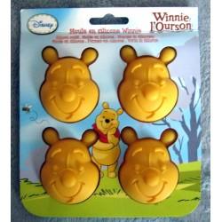 Moule à gâteau jaune - 4 têtes - Silicone - Winnie l'ourson licence officielle Disney cuisines gateaux neuve