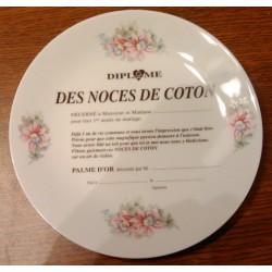 Assiette Déco porcelaine diplôme des noces de coton idée cadeau 1 an de mariage neuve