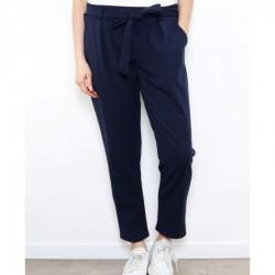 Pantalon casual avec nœud et 2 poches latérales bleu marine DU L AU 3XL VËTEMENT FEMME ADOS NEUF